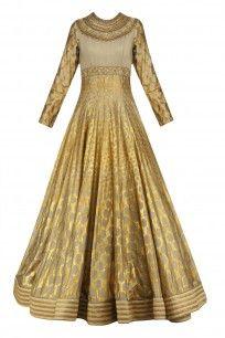 Olive Green and Gold Foil Print Anarkali Set