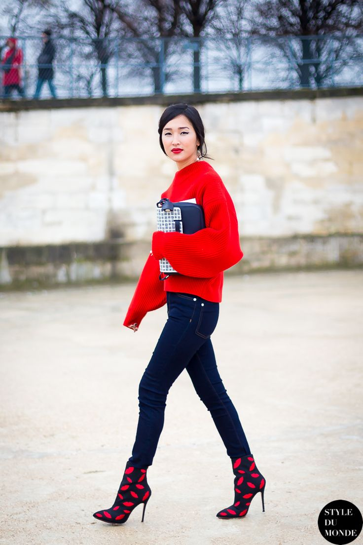 Gary Pepper Girl in a bright red sweater, black skinnies, and printed booties #StreetStyle
