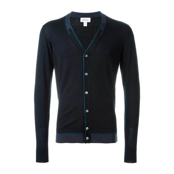 BRIONI V-Neck Cardigan ($380) ❤ liked on Polyvore featuring men's fashion, men's clothing, men's sweaters, blue, mens blue v neck sweater, mens v neck cardigan sweater, mens cardigan sweaters, mens vneck sweater and men's v neck sweater
