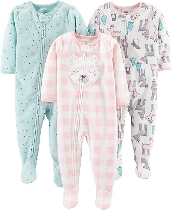 Simple Joys by Carters Baby and Toddler Girls 3-Pack Loose Fit Fleece Footed Pajamas