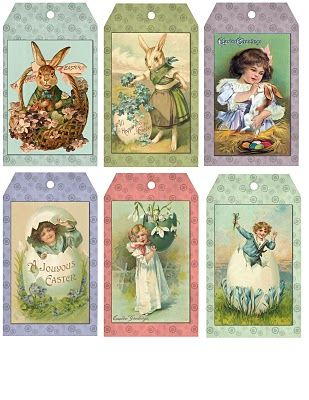 Free Primitive Easter Hang Tags from sewdeartome.blogspot.com