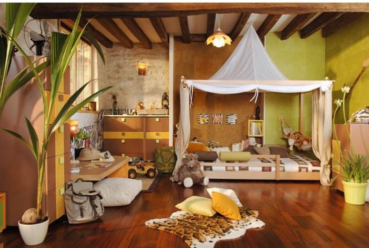 jungle safari toddler bedroom with a tent