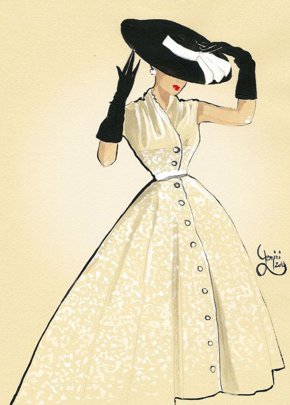 Vintage fashion illustration Années 50'