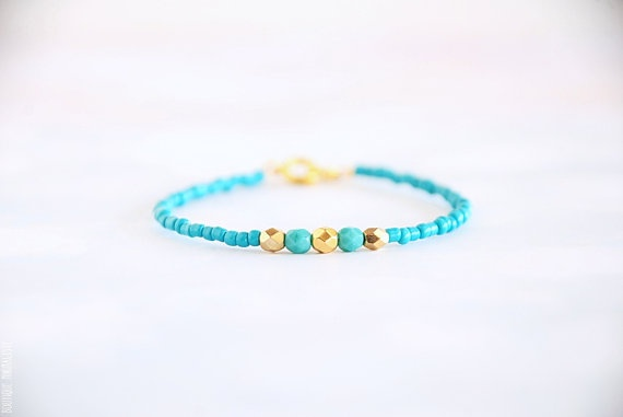 Mint/Turquoise and Gold beaded bracelet by BoutiqueMinimaliste, $14.00