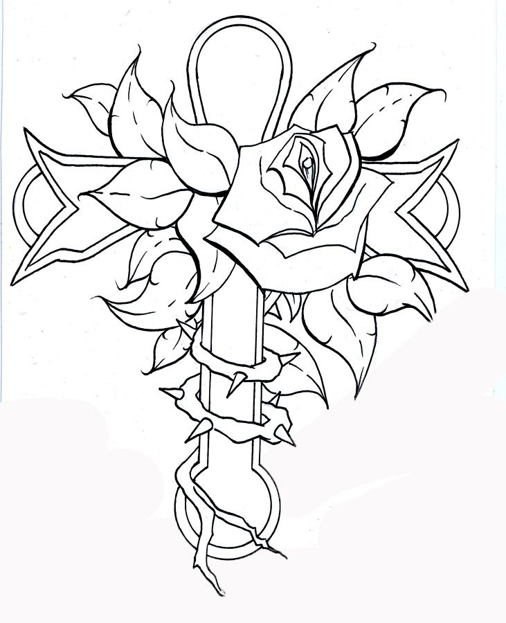 Rose And Cross Pages Dragoart Coloring Pages