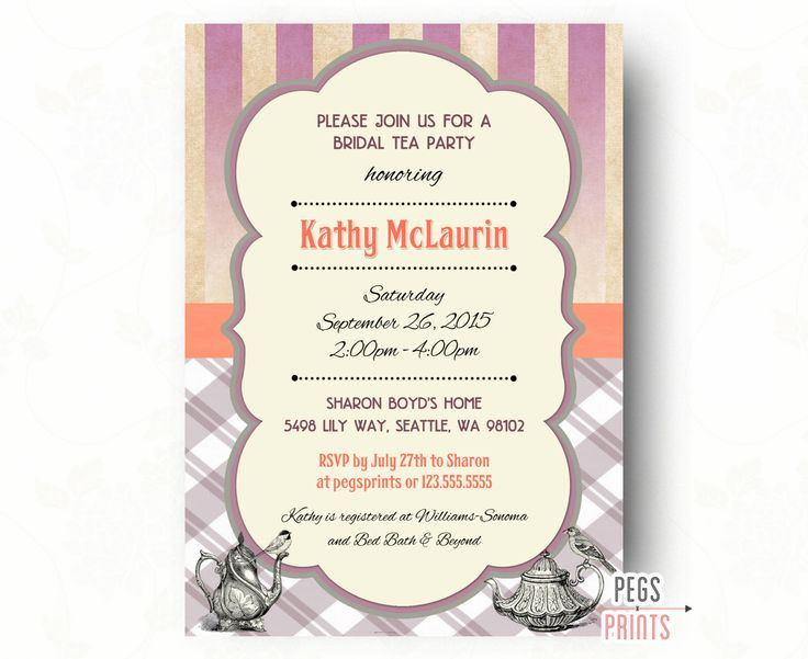Bridal Tea Party Invitation // Printable Bridal Tea Invitation // Tea Party Bridal Shower Invitation // Tea Bridal Shower // Shabby Chic by PegsPrints on Etsy