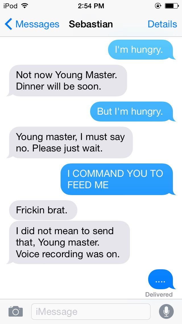 Ciel texts Sebastian.. XD how funny would it be if black butler was in this cent…