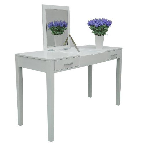HomCom Modern White Dressing Vanity Table Make Up Writing