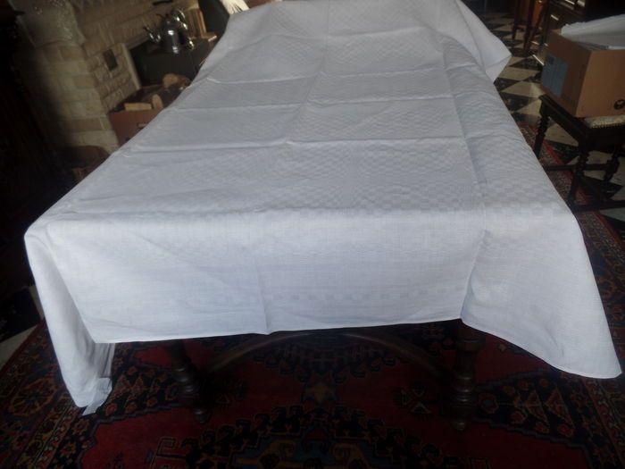 Online veilinghuis Catawiki: Groot wit damast tafellaken - katoen - Belgie - begin 20e eeuw.