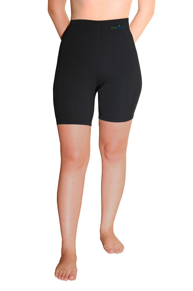 BLACK SWIM SHORTS HIGH WAIST SUN PROTECTION UPF50+  FOR WOMEN #ECOSTINGER #SHORTSHIGHWAIST