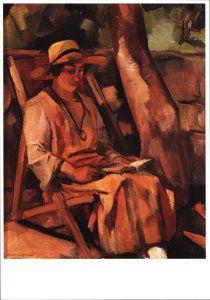 Postkaarten    Lezende vrouw    Matthieu Wiegman    A9959    Zomer, Kunst, Postkaarten, Boeken en Lezen, Vrouwen, Stoelen, Schilderkunst, Hoeden,  #EasyNip