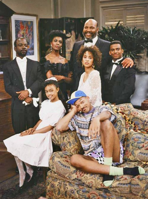 The cast of the Fresh Prince of Bel-Air. Geoffrey, Ashley, aunt Vivian, Uncle Phill, Hillary, Carlton and Will Smith