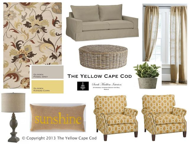 The Yellow Cape Cod: Warm Gray and Sunny Yellow Living Room