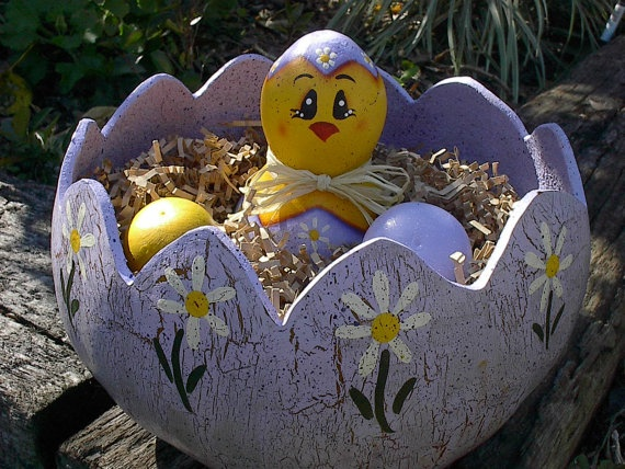 Gourd Easter Basket Bowl Hand Painted Chicken by NatsKreations, $36.95