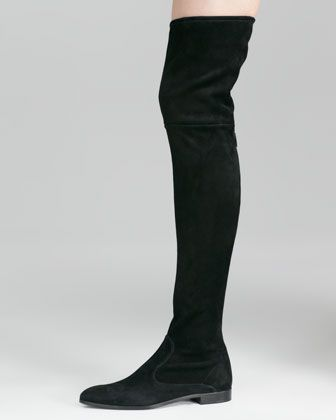 Suede Flat Thigh-High Boot, Black by Prada at Neiman Marcus. | My ...