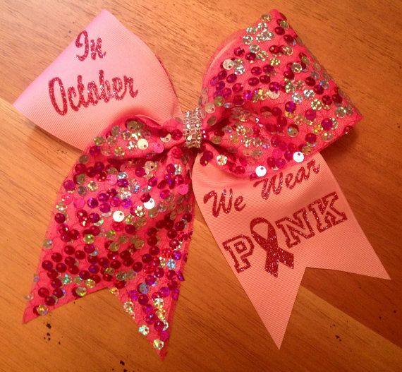 In October we wear pink breast cancer cheer bow... LARGE orders available ! For quanties over 10 bows, PLEASE contact seller... We will get back to