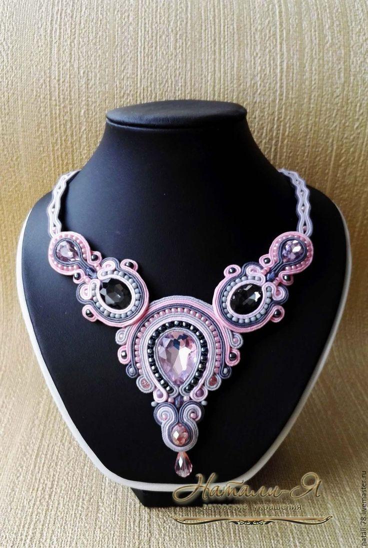 """Купить Сутажное колье """"Сны о нежности"""" (серый, розовый, вечернее колье) - розовый, серый цвет"""