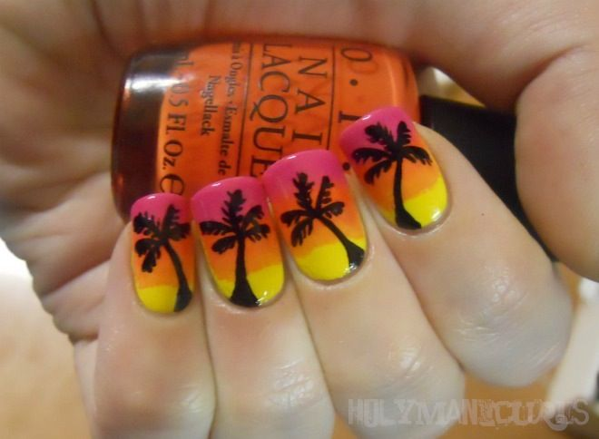 Holy Manicures: Sunset Palm Tree Nails: Nails Art, Palms Trees Nails, Hair Nails Makeup, Hair Nails And Makeup, Palm Trees, Sunsets Palms, Holy Manicures, Palm Tree Nails, Summer Night
