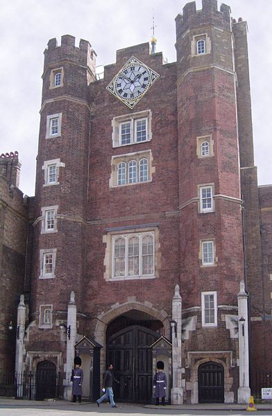 Main entrance of St James's Palace in Pall Mall survives from Henry VIII's palace.