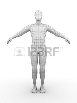 umano: Illustrazione di un uomo cablata. Concept futuristico