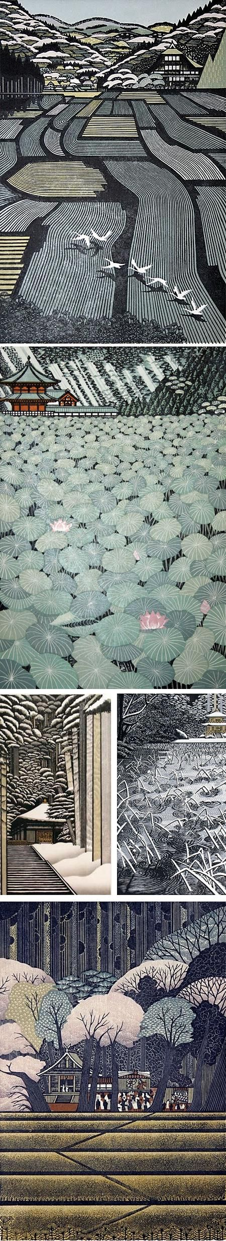 Ray Morimura (b.1948) ;  Japanese artist from Tokyo who works mostly with wood block prints