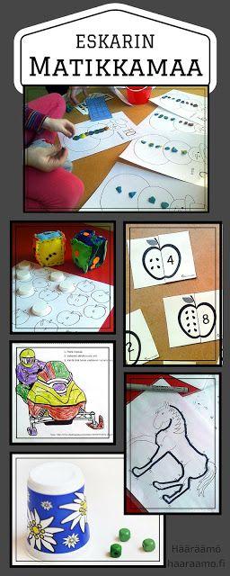 Matematiikan pistetyöskentelyä esikoulussa: muovailua, noppapelejä, väritystä, palapelejä, pisteestä pisteeseen -tehtäviä. Linkkejä ilmaisiin tulostettaviin materiaaleihin http://www.haaraamo.fi