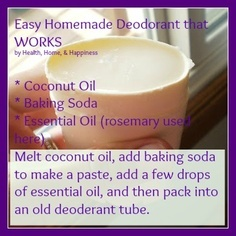 Homemade Deodorant.  I did this before I was pregnant.  I used arrowroot powder instead of baking powder.  It worked great but Baby decided I was going to be sensitive to it so I had to stop using it for a while.  It worked better than any deoderant  I have ever used though.