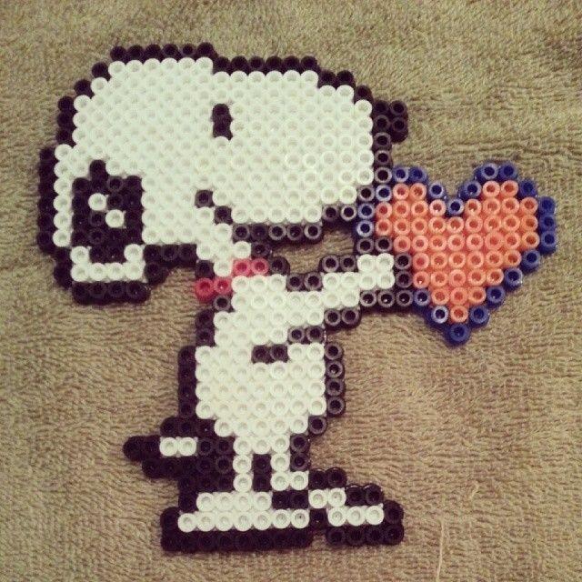 Snoopy love perler beads by xoxjokergirlxox