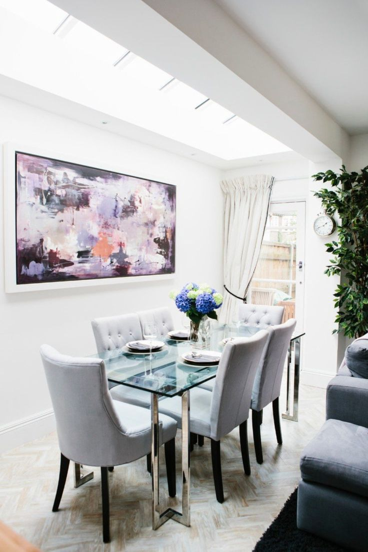 Dining Room With Glass Table And Abstract Wall Art Cleaning Ways For Glass Topped Dining Room Table Check more at http://www.wearefound.com/cleaning-ways-for-glass-topped-dining-room-table/