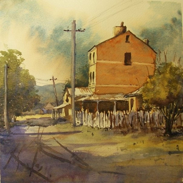 Sofala, near Bathurst in NSW.    Painted in Grafton during the Artsfest under the tutelage of Robert Wade. A wonderful watercolourist whom I was able to share the experience of being a part of his second last workshop. A truly unforgettable 5 days with one of the true gentlemen artists of our world.