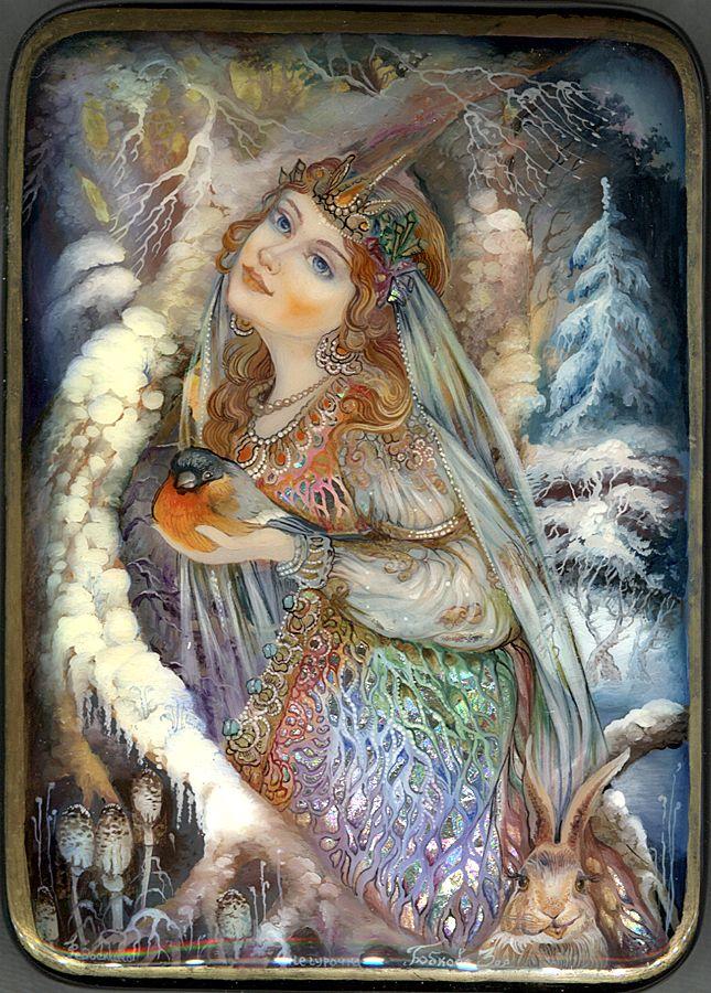 """""""Snow Maiden"""" Lacquer Art by Zoya Bobkova (Fediskino)"""
