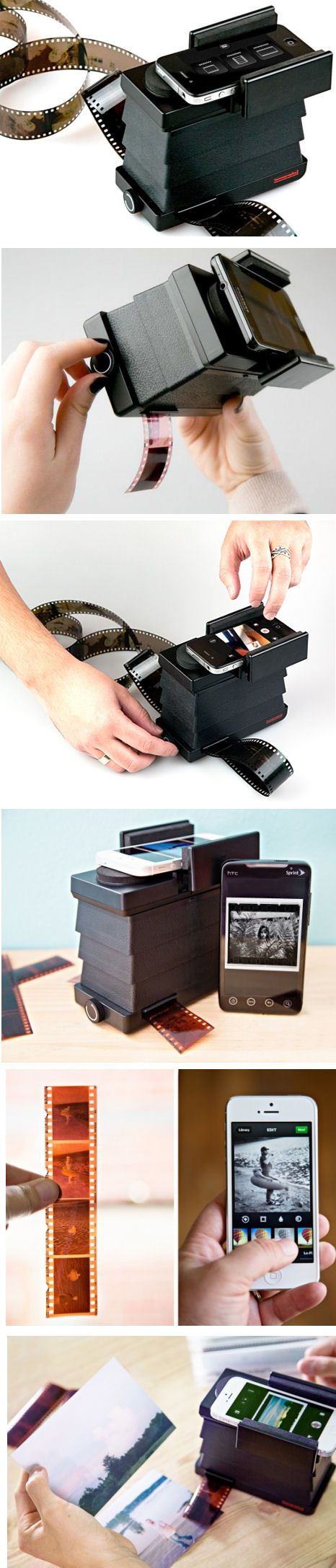 Smartphone Film Scanner - light, portable device that quickly and easily converts 35mm film into digital images. Use the free LomoScanner app or your phone's camera to edit, email, post, and print your pics to your heart's content.