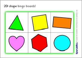 2D shape bingo boards (SB536) - SparkleBox