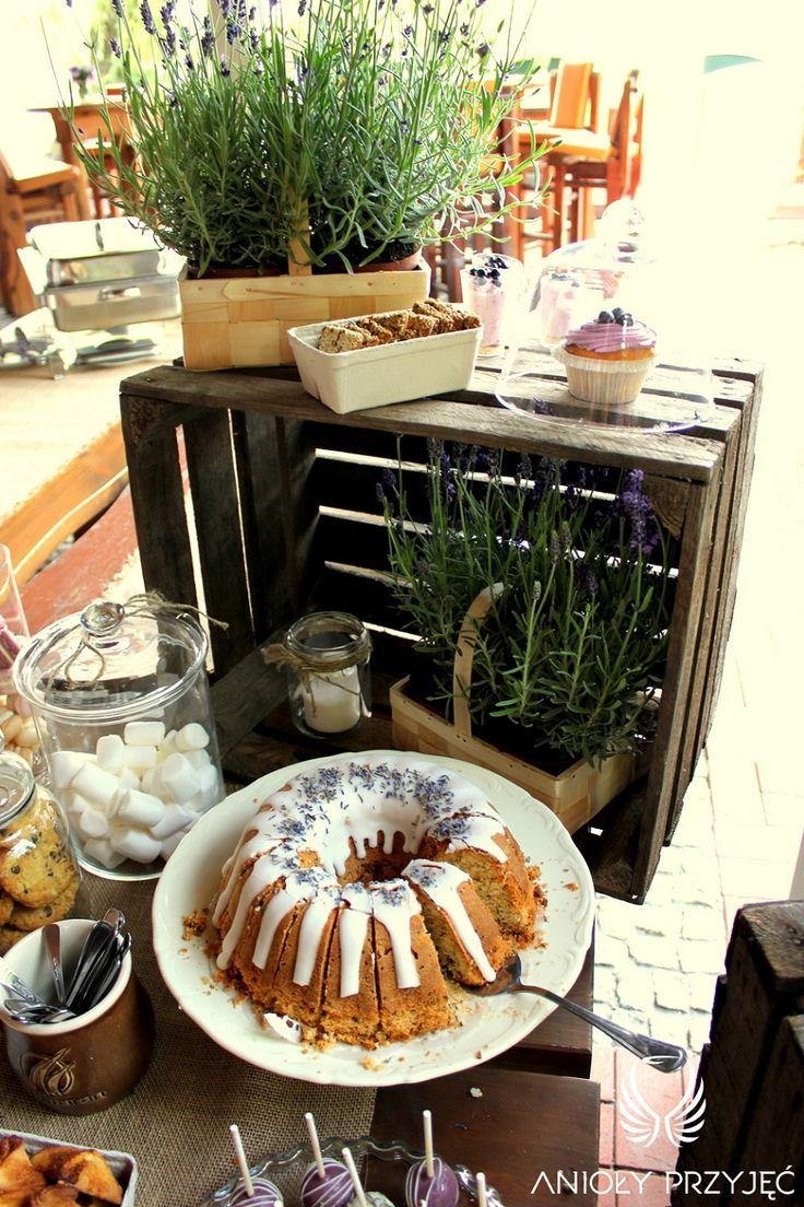 24.  Lavender Wedding,Sweet table decor,Rustic decor / Wesele lawendowe,Słodki stół,Babka lawendowa,Anioły Przyjęć