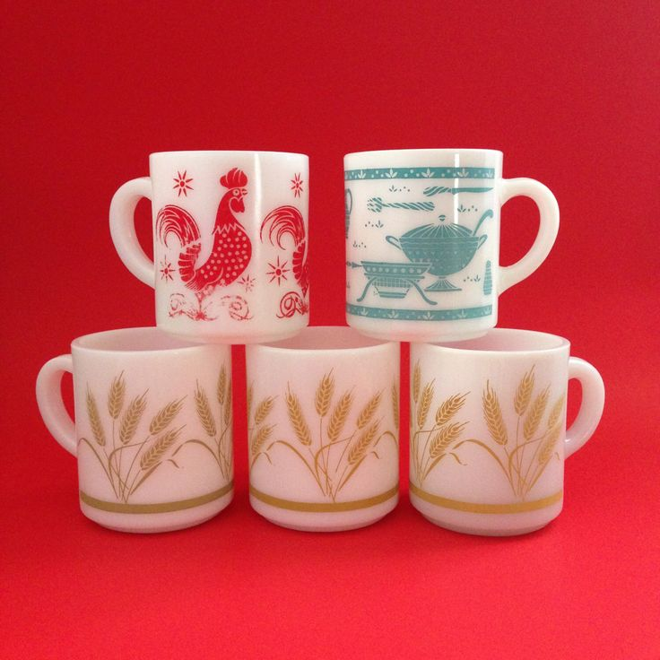 5 Hazel Atlas Mugs - Red Rooster - Turquoise Kitchen Aid - Harvest Wheat by ThatRetroChick on Etsy https://www.etsy.com/listing/463622110/5-hazel-atlas-mugs-red-rooster-turquoise