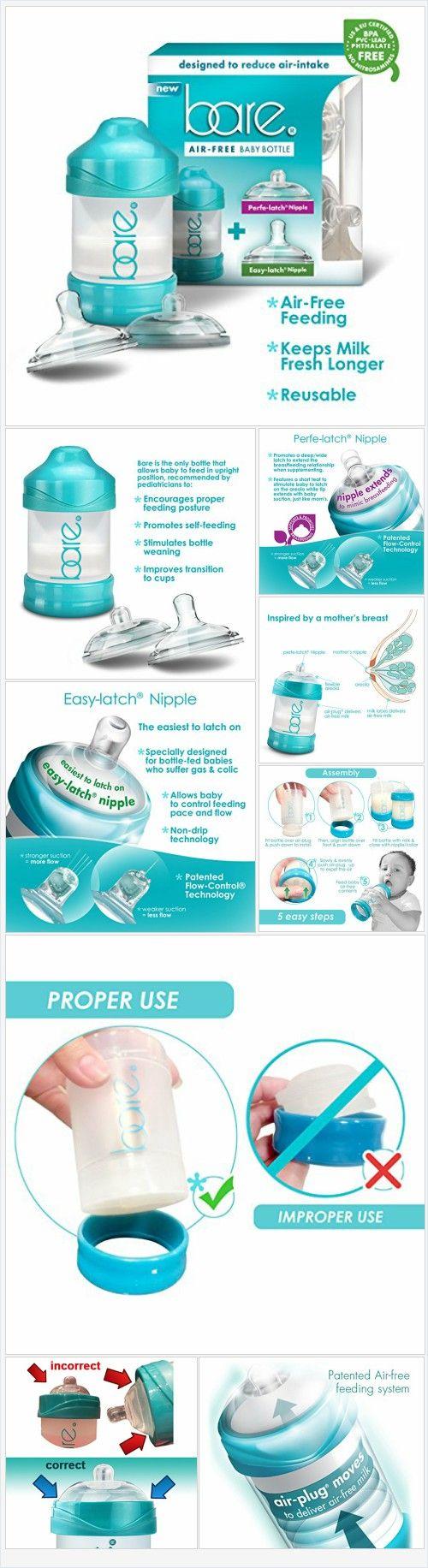 Bare® Baby Bottle w/ Breastfeeding & Bottle Feeding Nipples - Patented Air…
