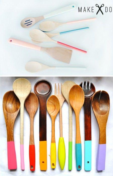 DIY ~ Paint dipped wooden spoons #DIY