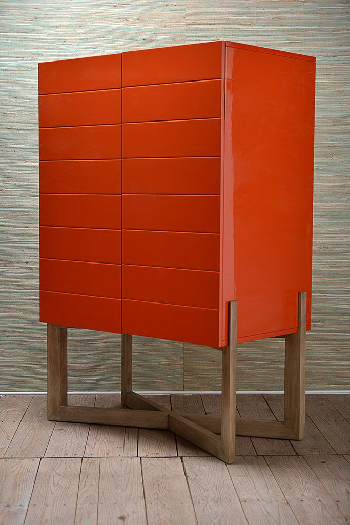 Orange Lacquer Bar Cabinet with Cerused Wooden Base Available in Additional Lacquer Colors