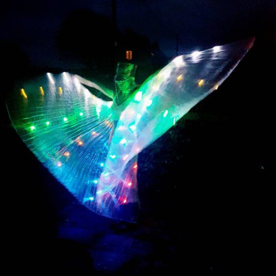 Rainbow Led Light Up Transparent Shiny Hologram Pleated Festival Dance Party Raver Carnival Butterfly Angel Fairy Wings Cape Large Uk Seller Led Lights Glow In The Dark Dark Wings