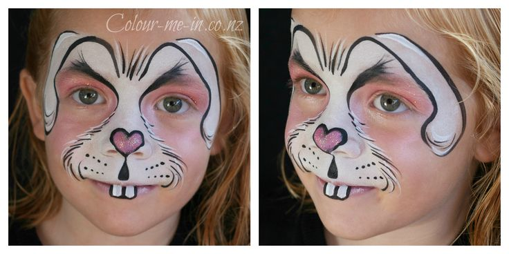 White Rabbit, face painted by Stephanie, www.colour-me-in.co.nz. A really cute Easter design, this looks just as effective with pale blue or purple accents.
