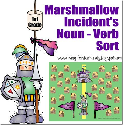 Super fun language arts game to help 1st, 2nd, and 3rd grade students practice sorting nouns and verbs. It is based on the super cute book The Marshmallow Incident