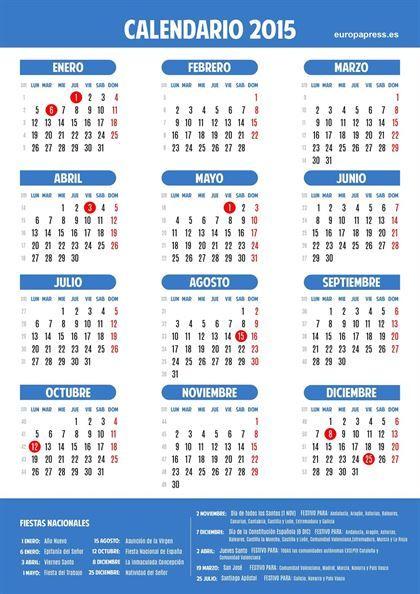 Calendario laboral para 2015: días de fiesta nacional comunes a todas las Comunidades Autónomas