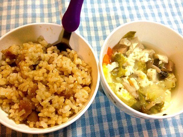 子供用です。 - 3件のもぐもぐ - スパムと野菜の中華スープ、鳥肉のしょうが漬け焼きごはん by tabimoka