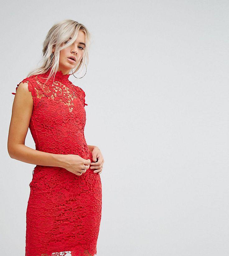 Paper Dolls Petite High Neck Crochet Lace Midi Dress - Red