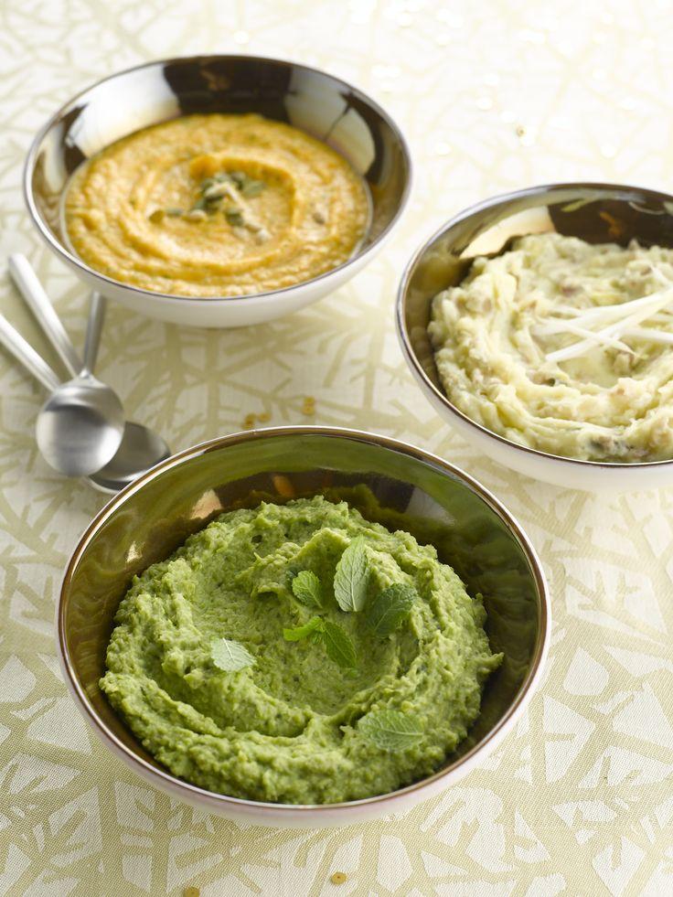 Drie maal feestpuree  http://www.njam.tv/recepten/drie-maal-feestpuree