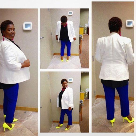 * Neon yellow pumps, royal blue pants, white & black tux blazer, black top