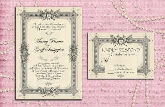 Art Deco Gatsby Style Wedding Invitation Suite with RSVP Card - 1920's, 20's Style - Printable, Digital file, DIY