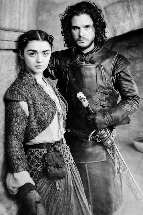 Maisie Williams as Arya Stark and Kit Harington as Jon Snow