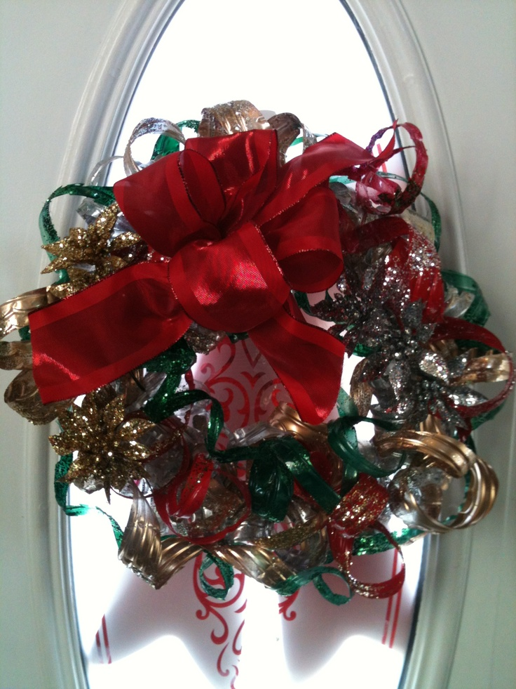 Wreath made out of recycled water bottles recycled art for What to make out of water bottles