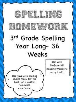 3rd Grade Spelling Homework McGraw-Hill Reading Wonders 36 Weeks (Full Year)
